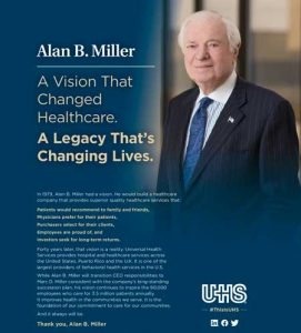 Advertisement running in the Philadelphia Inquirer and Modern Healthcare honoring Alan B. Miller.